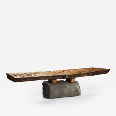 Julio Mart nez Barnetche BANCA CON PATAS BENCH WITH FEET salvaged wood and volcanic stone