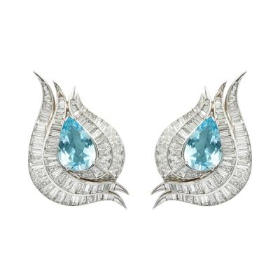 Julius Cohen Aqua Diamond Earclips by Julius Cohen