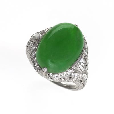 Jung Klitz Art Deco Jadeite Diamond and Platinum Ring