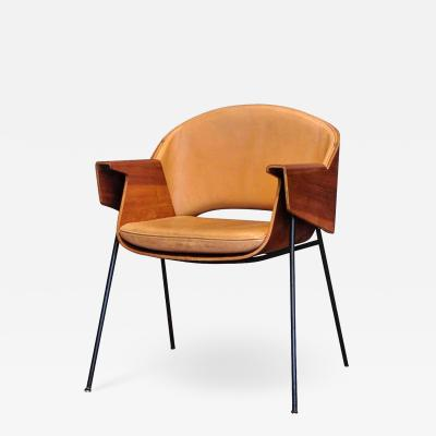 Jurg Bally Swiss Lather and Wood Arm Chair by Jurg Bally
