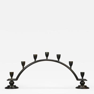 Just Andersen A Danish Patinated Bronze Candelabra by Just Andersen