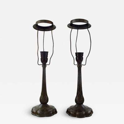 Just Andersen A pair of table lamps in patinated disko metal