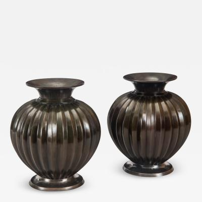 Just Andersen Just Andersen Pair of Danish Solid Patinated Bronze Melon Vases Signed