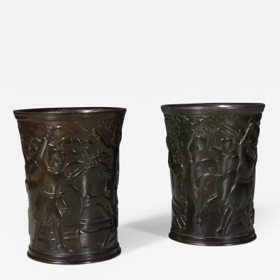 Just Andersen Just Andersen pair of vases of disco metal