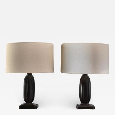 Just Andersen Pair Just Andersen metal table lamps Denmark 1930s