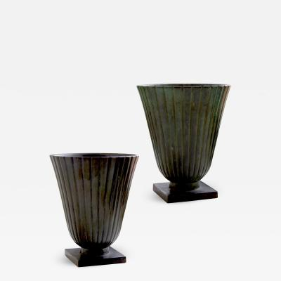 Just Andersen Pair Reeded and Footed Vases in Patinated Bronze by Just Andersen for GAB