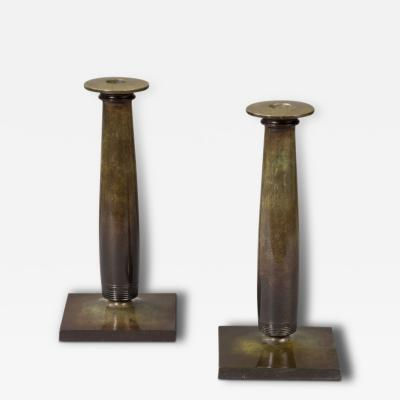Just Andersen Pair of Candlesticks by Just Andersen 1884 1943 Denmark 1930s