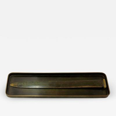 Just Andersen Patinated Bronze Tray and Letter Opener circa 1940 by Just Andersen