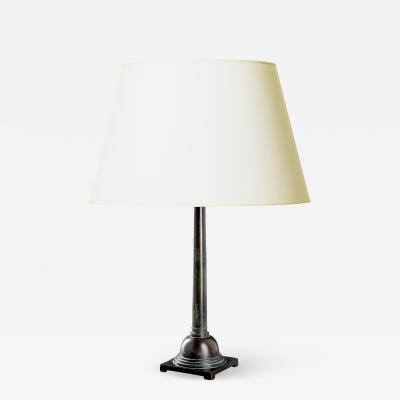 Just Andersen Rare tall column form table lamp in patinated bronze by Just Andersen