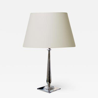 Just Andersen Silvered Table Lamp with Lotus Column Stand by Just Andersen for GAB