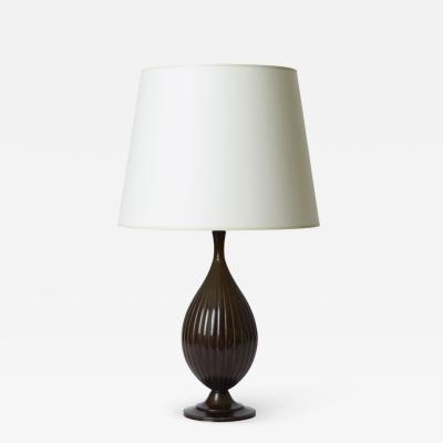 Just Andersen Table lamp with reeded ovoid form by Just Andersen