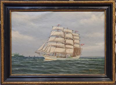 K Hansen Danish Marine Painting signed by K Hansen circa 1930