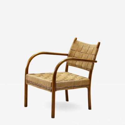 K Scr der K Scr der armchair model 1459 in Beech and Woven Papercord Denmark 1938