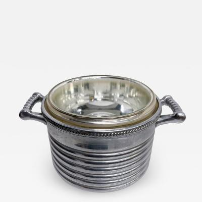 KEYSTONEWARE Chrome Ice Bucket Silver Rope Twist Handles USA 1960s Vintage