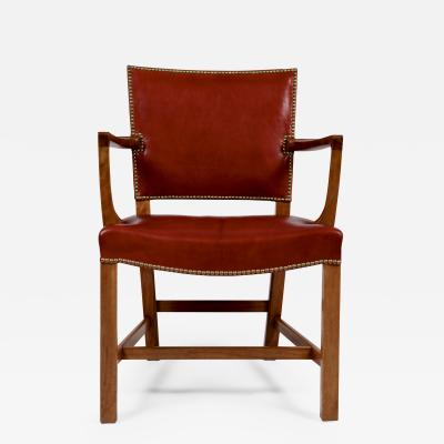 Kaare Klint Kaare Klint Barcelona Armchair Red Leather Cuban Mahogany Denmark 1950s