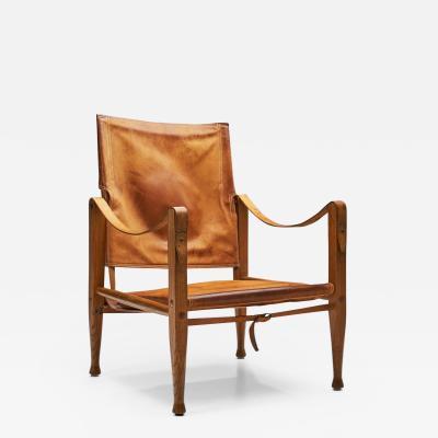 Kaare Klint Kaare Klint KK47000 Safari Chair in Patinated Leather Denmark 1930s