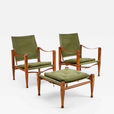 Kaare Klint Kaare Klint Safari Chair Set in Sage Green Canvas Denmark 1960s