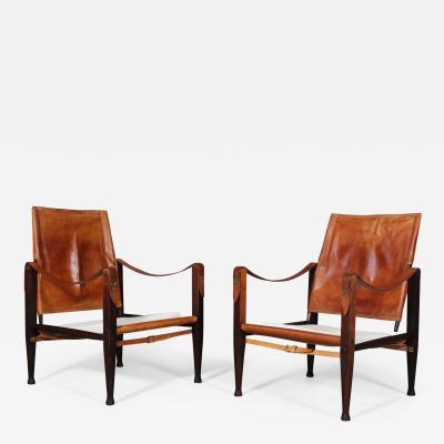 Kaare Klint Kaare Klint for Rud R Pair of safari chairs originally upholstered