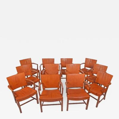 Kaare Klint Kaare Klint set of twelve Red Arm Chairs for Rud Rasmussen