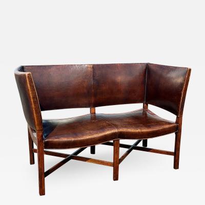 Kaare Klint Leather Wing Back Modernist Settee