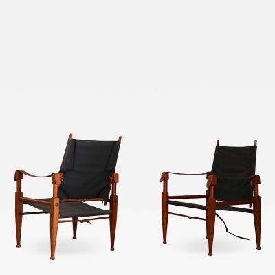 Kaare Klint PAIR OF VINTAGE SAFARI CHAIRS BY KAARE KLINT FOR RUD RASMUSSEN