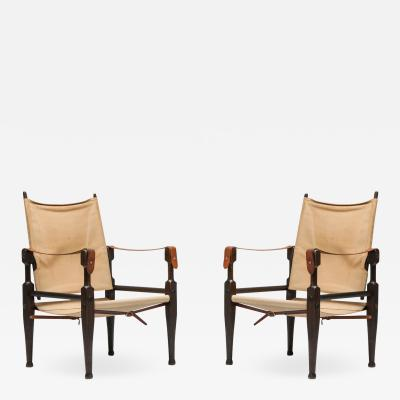 Kaare Klint Safari Chairs Designed by Kaare Klint for Rud Rasmussen 1960s