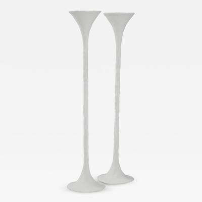 Kacper Dolatowski White Plaster Torchiere Lamp by Kasper Dolatowski
