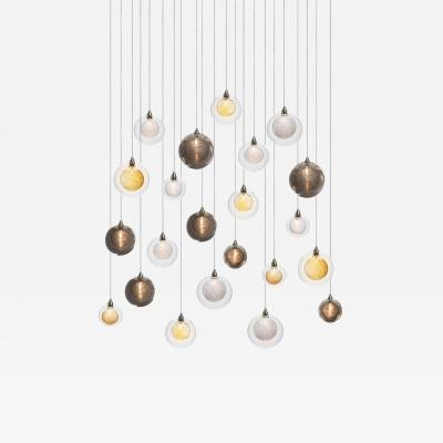 Kadur Drizzle 22 Mixed Blown Glass Pendant Dining Room Chandelier by Shakuff