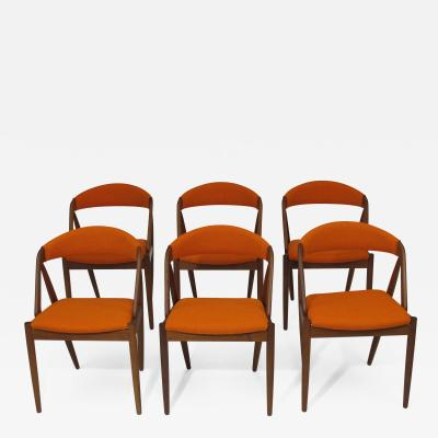 Kai Kristiansen Curved Back Dining chairs in Orange Wool Set of 6