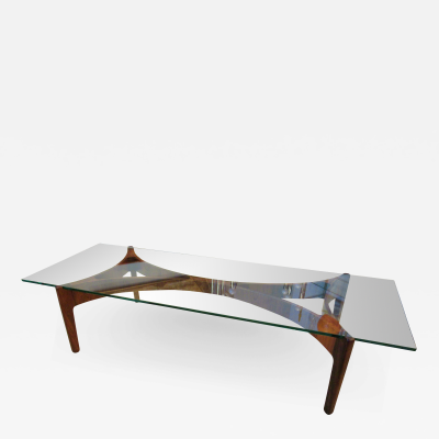 Kai Kristiansen Danish Modern Rosewood and Glass Top Low Table