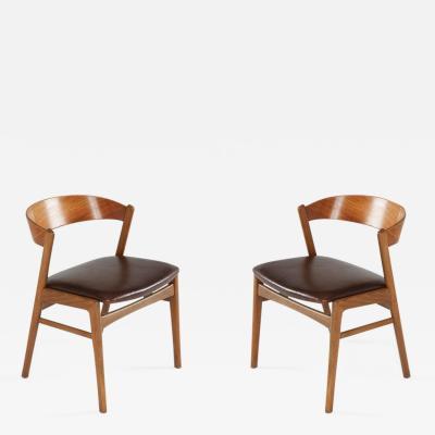 Kai Kristiansen Kai Kristiansen Danish Modern Dining Side Chairs Pair circa 1960