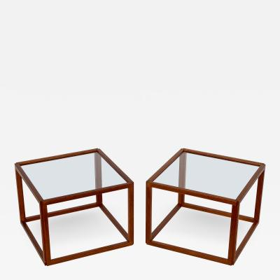 Kai Kristiansen Pair of Kai Kristiansen Teak Cube Side Tables