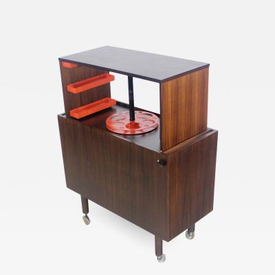 Kai Kristiansen Rare Scandinavian Modern Rosewood Pop Up Bar Cabinet Designed by Kai Kristiansen