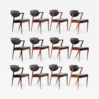 Kai Kristiansen Set of Twelve Model 42 Chairs In Rosewood Leather By Kai Kristiansen