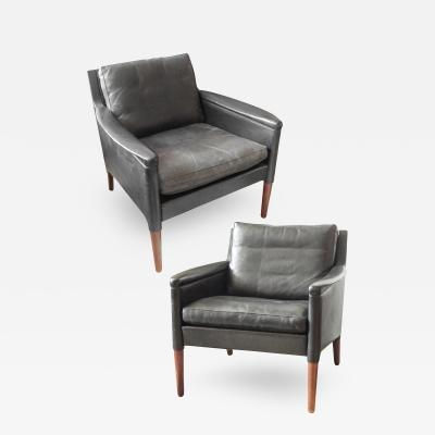Kai Lyngfeldt Larsen Pair of Mid Century Black Leather Armchairs