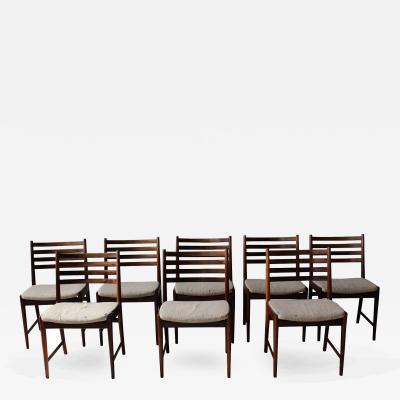 Kai Lyngfeldt Larsen Set of Eight 1960s Danish Rosewood Chairs by Kai Lyngfeldt