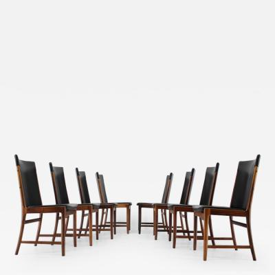 Kai Lyngfeldt Larsen Unique Set of Eight Palisander Leather Dining Chairs by Kai Lyngfelt Larsen