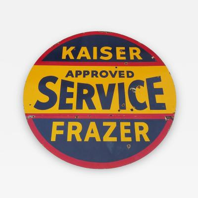 Kaiser Fraser Auto Service Porcelain Double Sided Sign