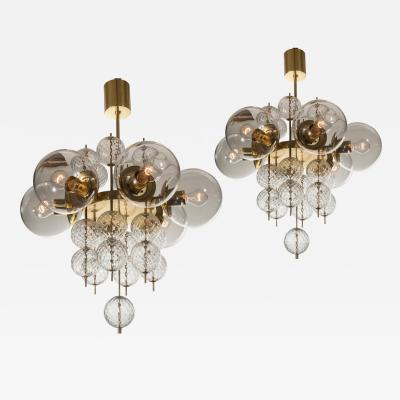 Kamenicky Senov A Pair of Czech Brass and Hand Blown Glass Chandeliers