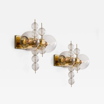 Kamenicky Senov Kamenicky Senov A Pair of Czech Brass and Hand Blown Glass Sconces