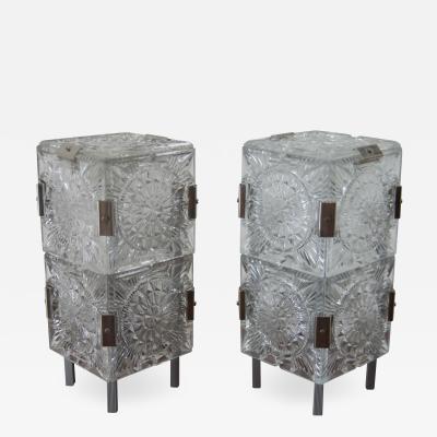 Kamenicky Senov Set of Two Glass Table Lamps by Kamenicky Senov 1970s