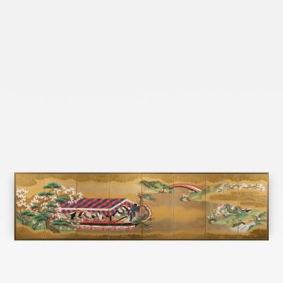 Kan Moritsune Eight Fold Screen of Scene from Genji