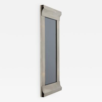 Kappa Rare stainless steel graphic mirror in the style of Kappa Italy 1970s