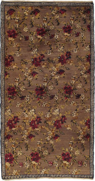 Karapinar Rug with Flowers and Greek Key Border