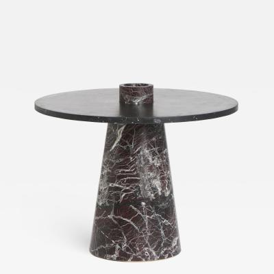 Karen Chekerdjian Inside Out Table in Red Levanto and Black Marquinia Marbles