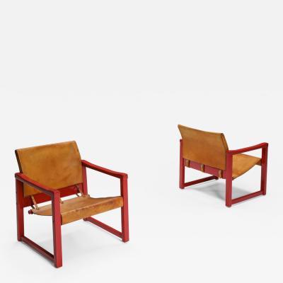 Karin Mobring Set of Cognac Leather Karin Mobring Safari Chair Model Diana by Ikea in Sweden
