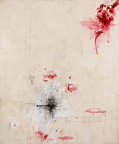 Karina Gentinetta Amore Original Painting in Hues of Cream Black and Magenta Signed 60 x 72