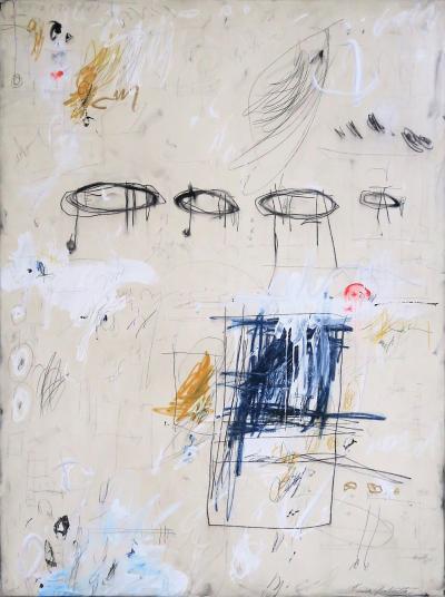 Karina Gentinetta Balanced Equation Acrylic Oil Pastels and Pencil Abstract Painting 48 x36