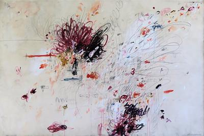 Karina Gentinetta Beautiful Mischief Abstract Acrylic Oil Pastels and Pencil Painting 72 x108