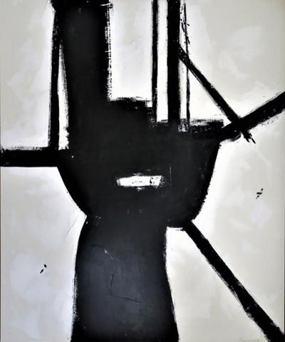 Karina Gentinetta Brazen Black and White Acrylic with Plaster Relief Abstract Painting 72 x 60